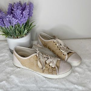 Michael Kors White, Brown & Gold Sneakers Size 6